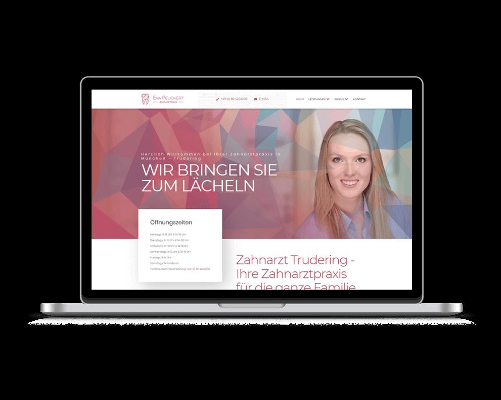 Mockup von Webseite Zahnarztpraxis München
