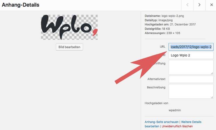WordPress Bild URL