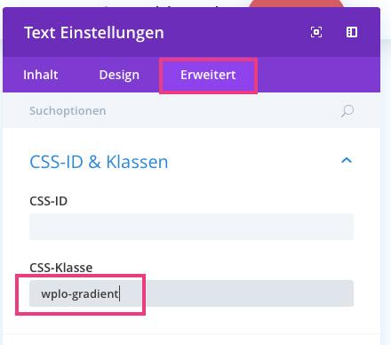 Divi CSS Klasse definieren
