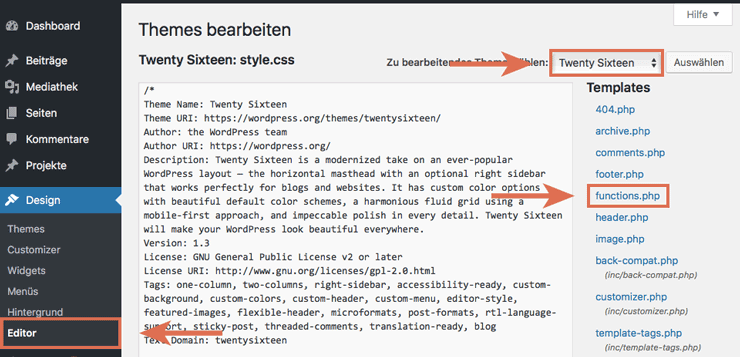 WP funktions.php bearbeiten